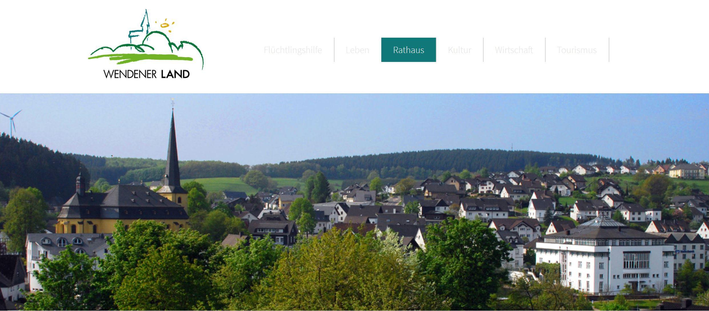 Werbelogo, Stadtwappen und Bildkollage der Gemeinde Wenden